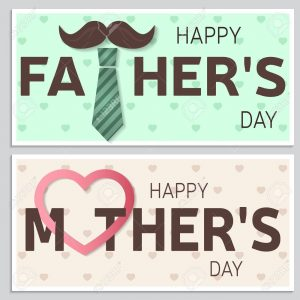 Happy Father's Day greeting card and Happy Mother's Day greeting card. Vector illustration.